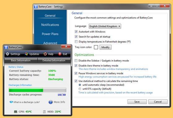 Скриншот программы batterycare