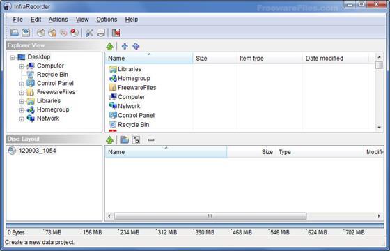 Скриншот программы infrarecorder