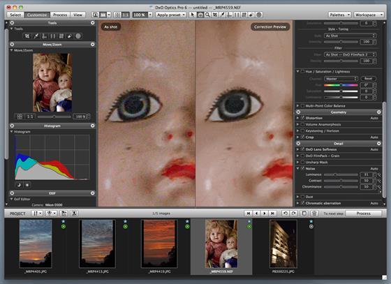 Скриншот программы dxo optics pro