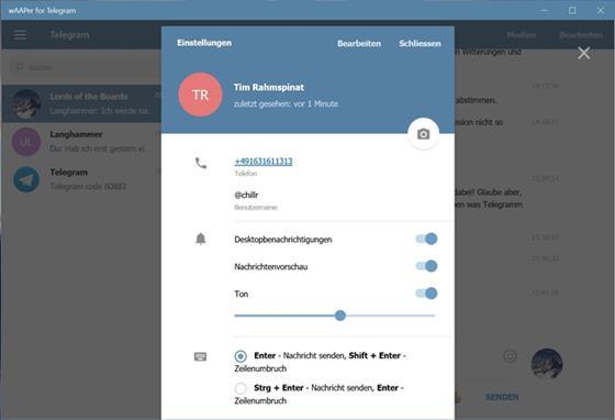 Скриншот программы telegram