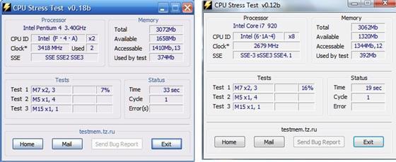 Скриншот программы cpu stress test