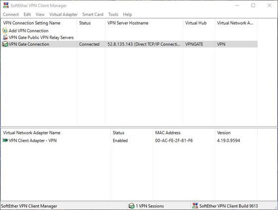 Скриншот программы softether vpn