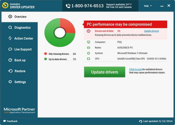 Скриншот программы auslogics driver updater