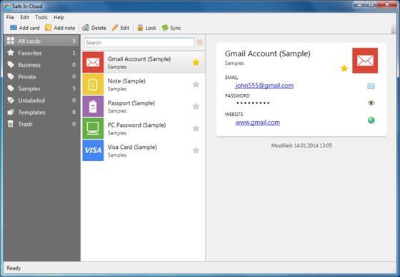 Скриншот программы safeincloud
