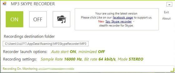 Скриншот программы mp3 skype recorder