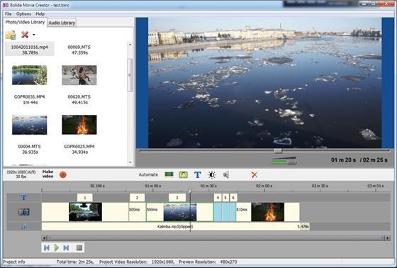 Скриншот программы bolide movie creator