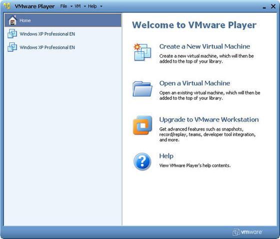Скриншот программы vmware player