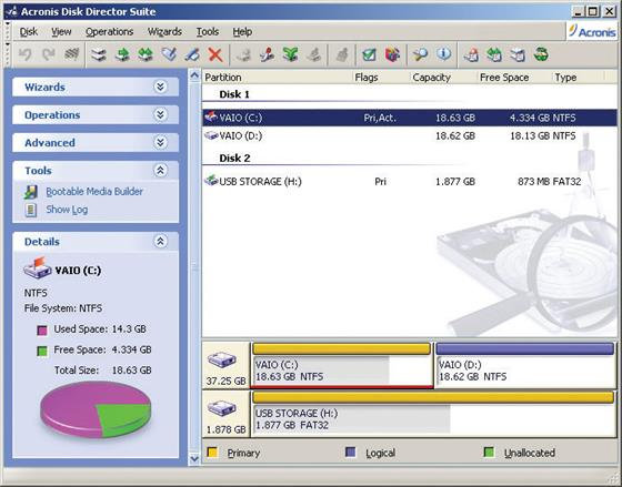 Скриншот программы acronis partition magic