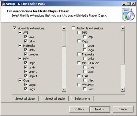 Скриншот программы k-lite codec pack