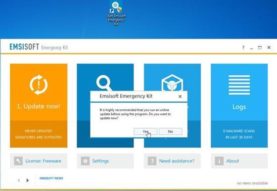 Скриншот программы emsisoft emergency kit