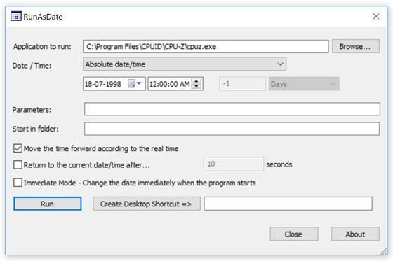Скриншот программы runasdate