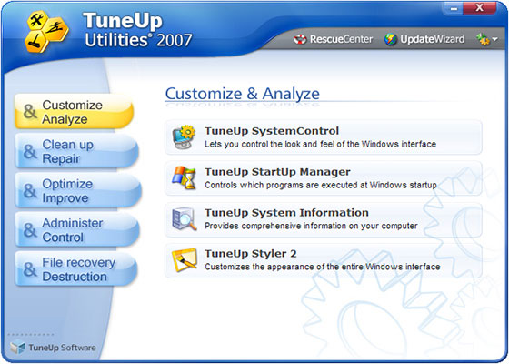 Скриншот программы tuneup utilities для windows 7