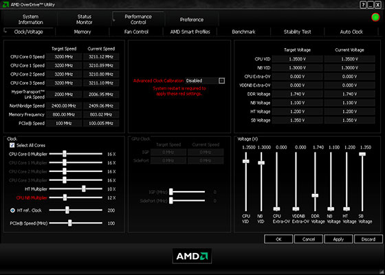Скриншот программы amd overdrive 4.3.1