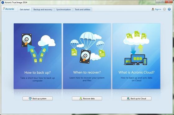 Скриншот программы acronis true image