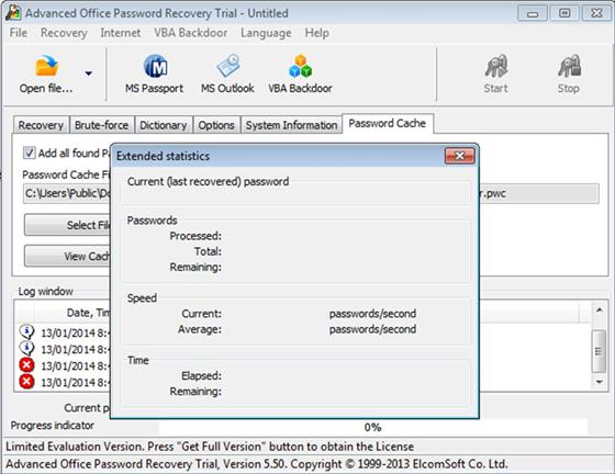 Скриншот программы advanced office password recovery