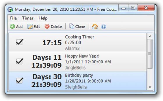 Скриншот программы free countdown timer