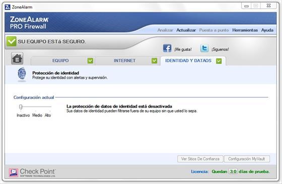 Скриншот программы zonealarm pro