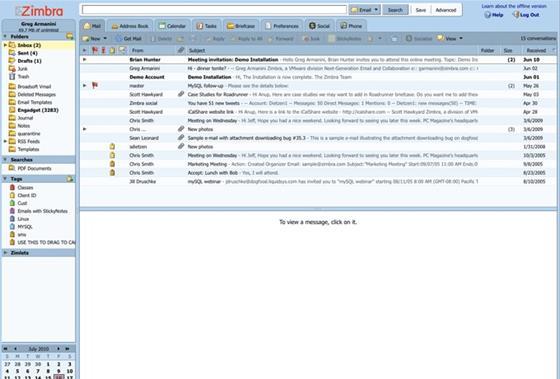 Скриншот программы zimbra desktop