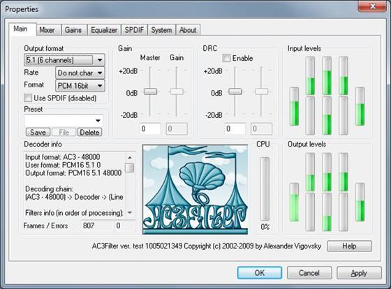 Скриншот программы ac3filter