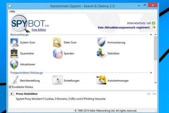 Скриншот программы spybot