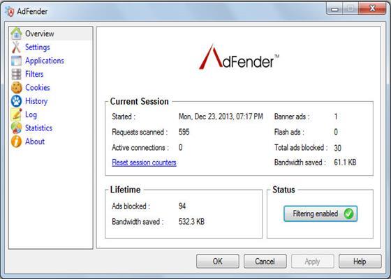 Скриншот программы adfender