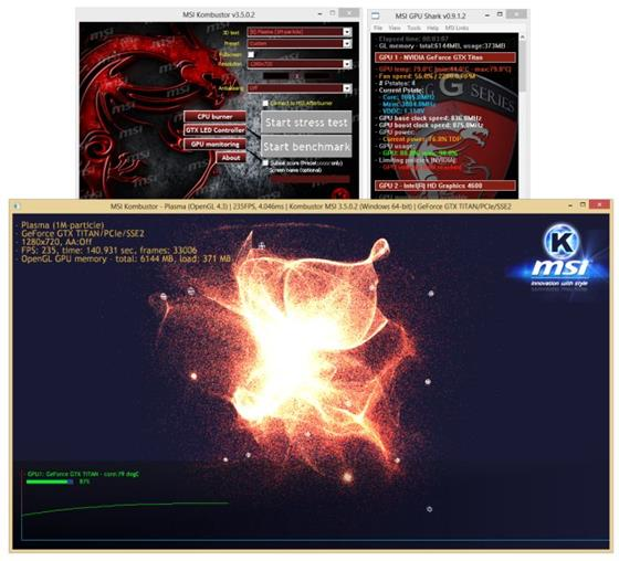 Скриншот программы msi kombustor