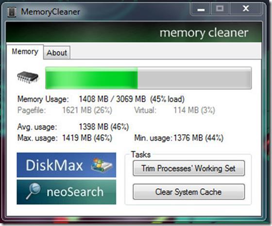 Скриншот программы memory cleaner