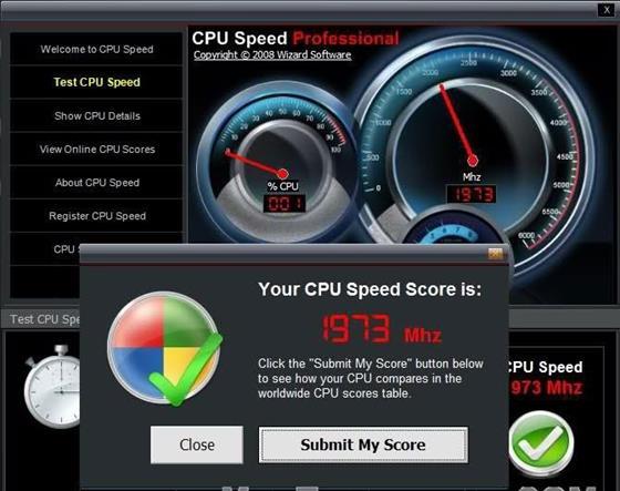 Скриншот программы cpu speed professional