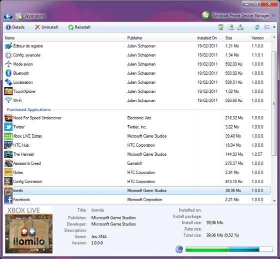 Скриншот программы windows phone device manager