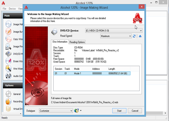 Скриншот программы alcohol 120 для windows 10