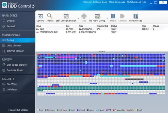 Скриншот программы ashampoo hdd control