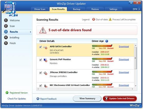 Скриншот программы winzip driver updater