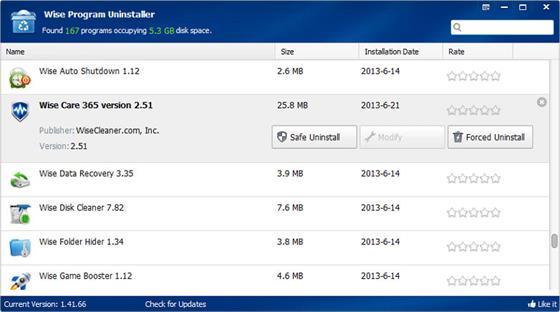Скриншот программы wise program uninstaller