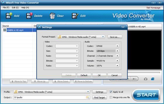 Скриншот программы iwisoft free video converter
