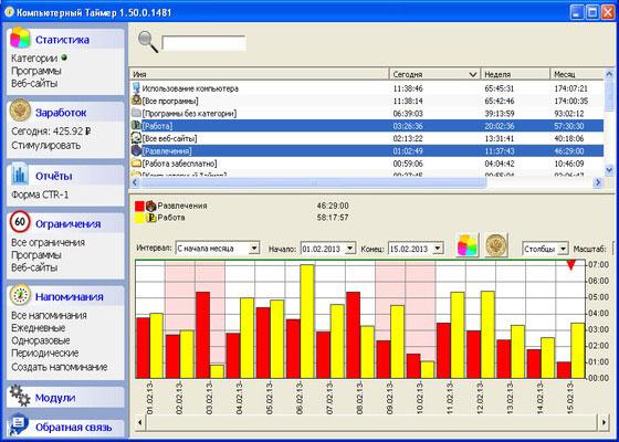 Скриншот программы компьютерный таймер