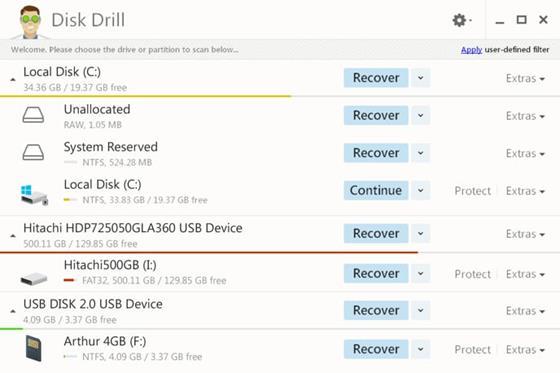 Скриншот программы disk drill