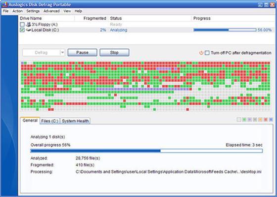 Скриншот программы auslogics disk defrag