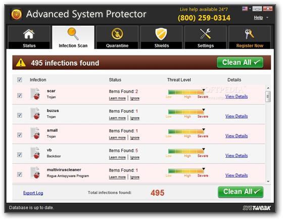 Скриншот программы advanced system protector