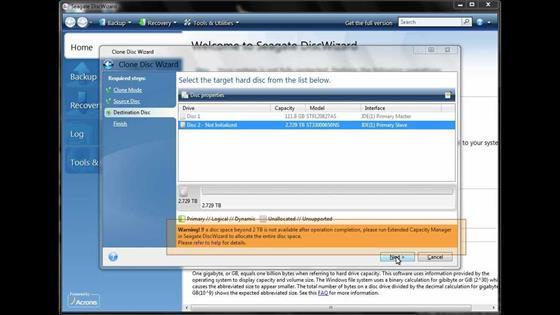 Скриншот программы seagate discwizard