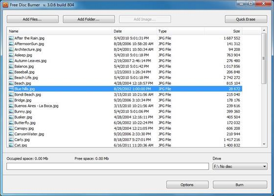 Скриншот программы free disc burner