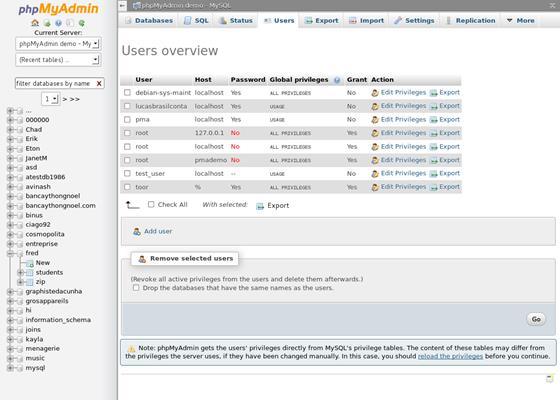 Скриншот программы phpmyadmin
