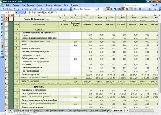 Скриншот программы финансовая модель предприятия