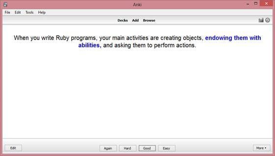 Скриншот программы anki