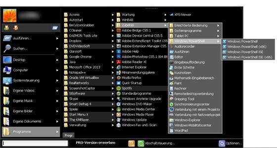 Скриншот программы start menu x