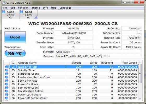 Скриншот программы crystaldiskinfo
