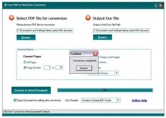 Скриншот программы free pdf to word converter