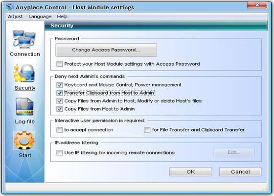 Скриншот программы anyplace control