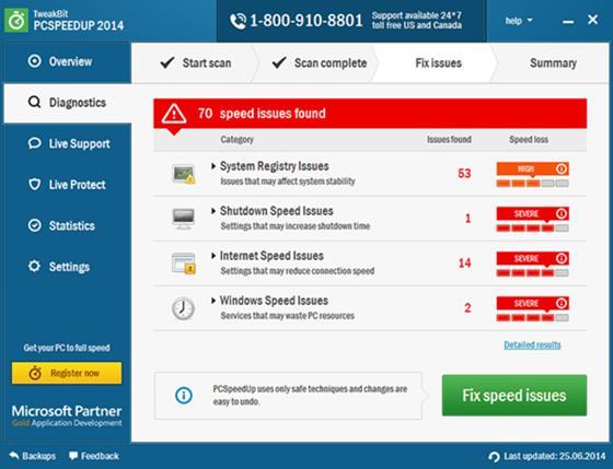 Скриншот программы pc speed up
