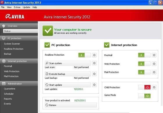 Скриншот программы avira internet security