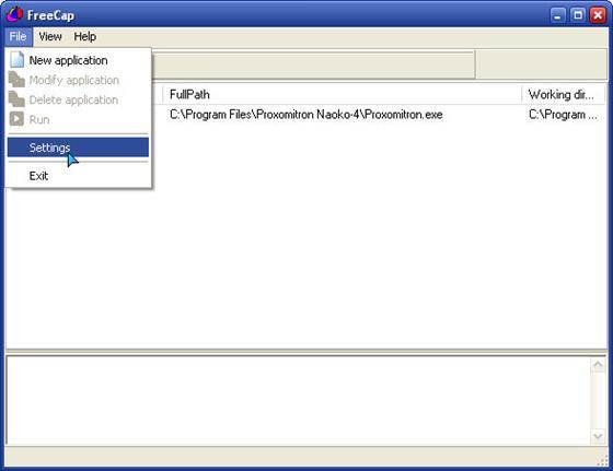 Скриншот программы freecap